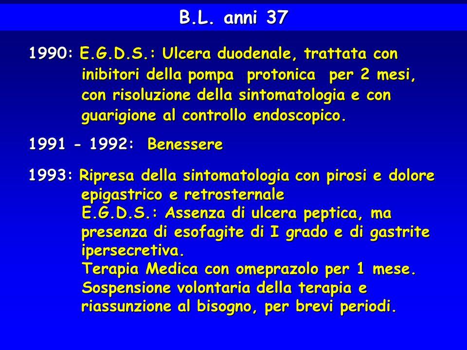 1993-1997: Epigastralgie di discreta entità, saltuarie, 1993-1997: Epigastralgie di discreta entità, saltuarie, con periodi di benessere di 1-2 mesi; con periodi di benessere di 1-2 mesi; assunzione autonoma di omeprazolo, senza assunzione autonoma di omeprazolo, senza controlli medici, con attenuazione della controlli medici, con attenuazione della sintomatologia.