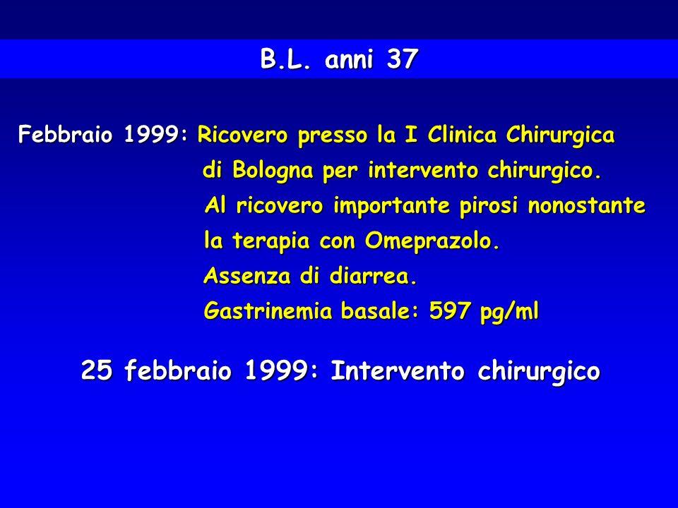 Febbraio 1999: Ricovero presso la I Clinica Chirurgica di Bologna per intervento chirurgico. di Bologna per intervento chirurgico. Al ricovero importa