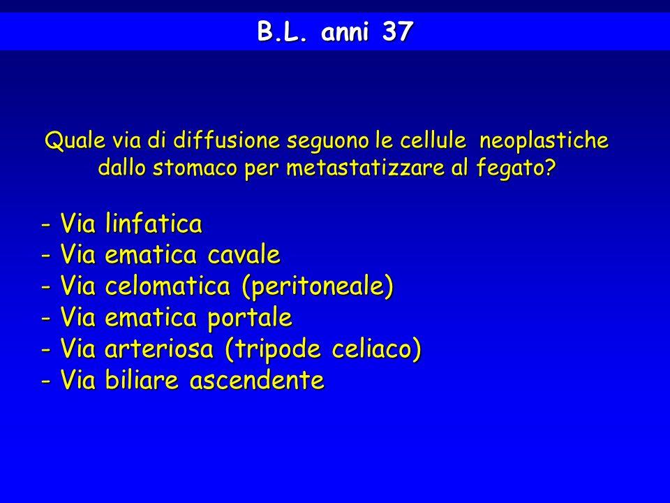 B.L. anni 37 Quale via di diffusione seguono le cellule neoplastiche dallo stomaco per metastatizzare al fegato? - Via linfatica - Via ematica cavale
