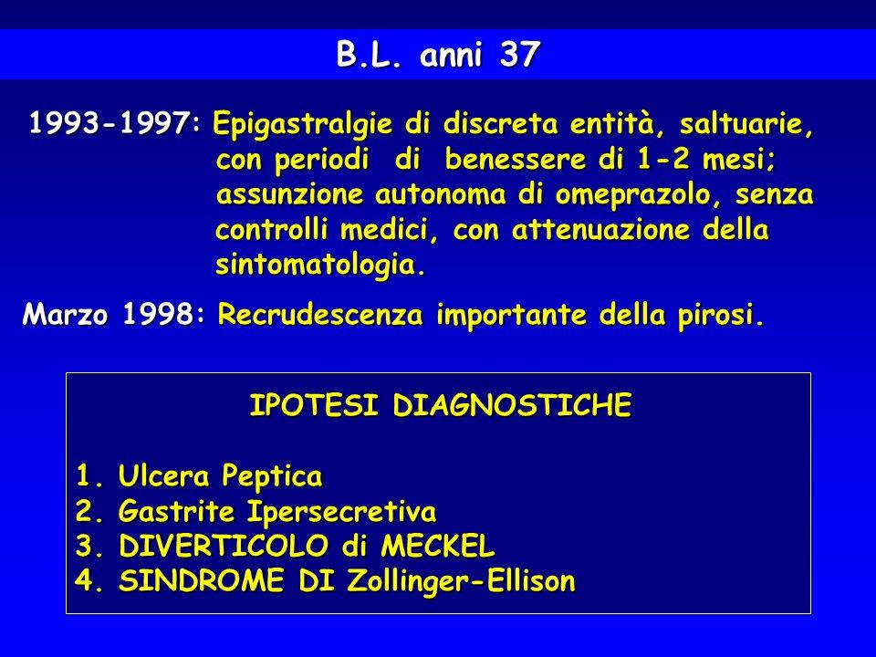 1993-1997: Epigastralgie di discreta entità, saltuarie, 1993-1997: Epigastralgie di discreta entità, saltuarie, con periodi di benessere di 1-2 mesi;