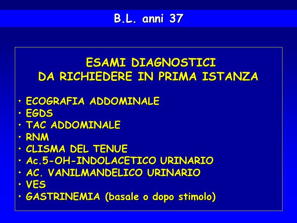 B.L. anni 37 ESAMI DIAGNOSTICI ESAMI DIAGNOSTICI DA RICHIEDERE IN PRIMA ISTANZA DA RICHIEDERE IN PRIMA ISTANZA ECOGRAFIA ADDOMINALE ECOGRAFIA ADDOMINA