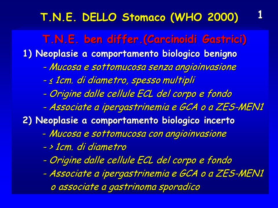 T.N.E. DELLO Stomaco (WHO 2000) T.N.E. ben differ.(Carcinoidi Gastrici) T.N.E. ben differ.(Carcinoidi Gastrici) 1) Neoplasie a comportamento biologico
