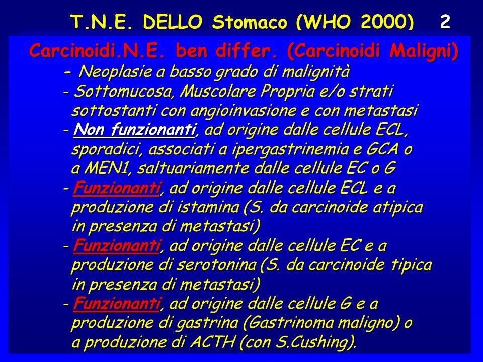 T.N.E. DELLO Stomaco (WHO 2000) Carcinoidi.N.E. ben differ. (Carcinoidi Maligni) Carcinoidi.N.E. ben differ. (Carcinoidi Maligni) - Neoplasie a basso