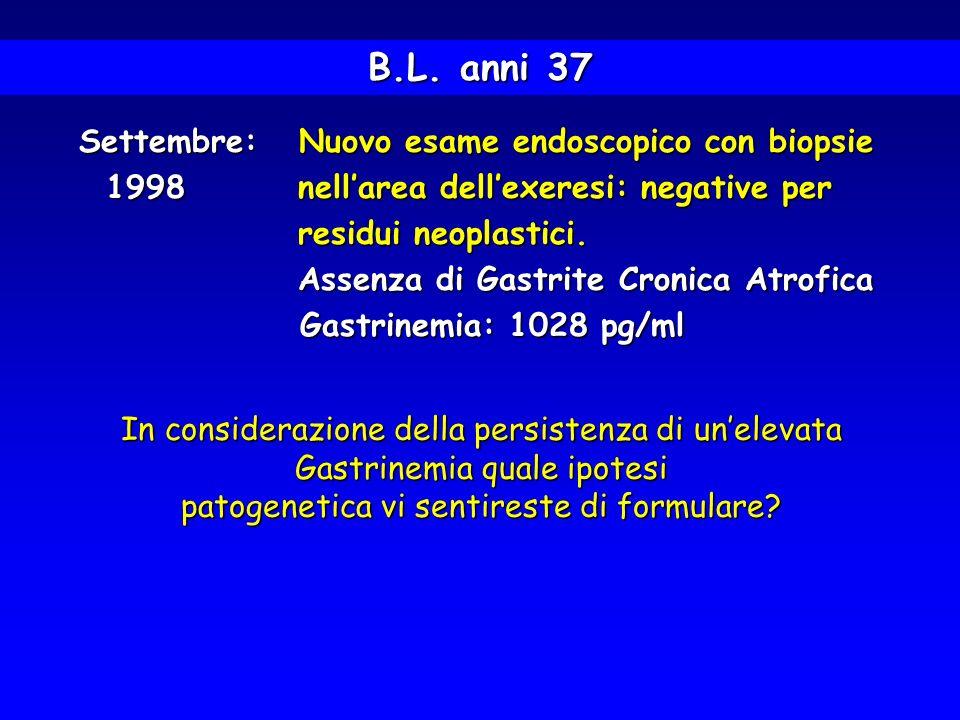 B.L. anni 37 Settembre: Nuovo esame endoscopico con biopsie Settembre: Nuovo esame endoscopico con biopsie 1998 nellarea dellexeresi: negative per res