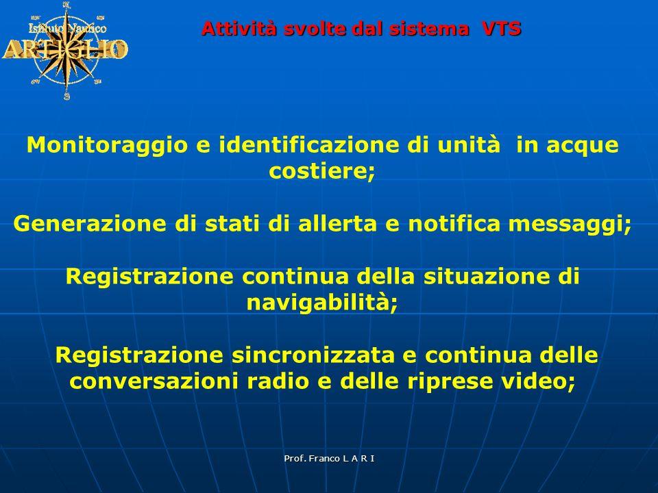 Prof. Franco L A R I Attività svolte dal sistema VTS Monitoraggio e identificazione di unità in acque costiere; Generazione di stati di allerta e noti