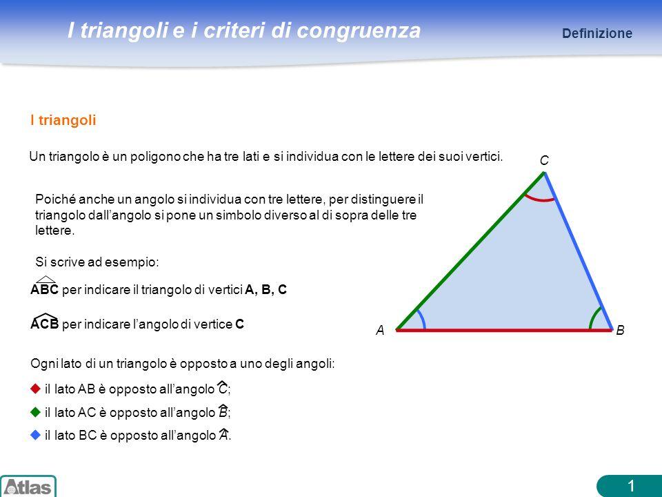 I triangoli e i criteri di congruenza 1 Un triangolo è un poligono che ha tre lati e si individua con le lettere dei suoi vertici. AB C ABC per indica