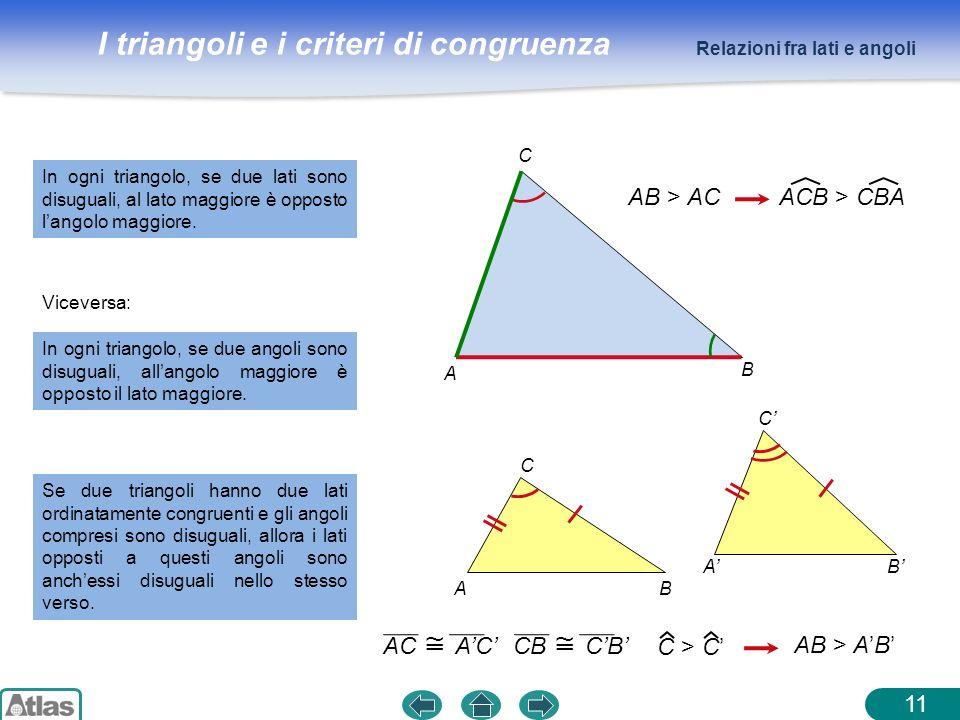 I triangoli e i criteri di congruenza 11 In ogni triangolo, se due lati sono disuguali, al lato maggiore è opposto langolo maggiore. Relazioni fra lat
