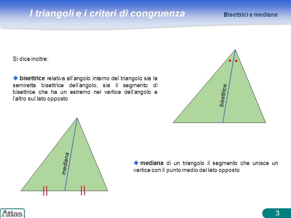 I triangoli e i criteri di congruenza 3 Si dice inoltre: bisettrice relativa allangolo interno del triangolo sia la semiretta bisettrice dellangolo, s