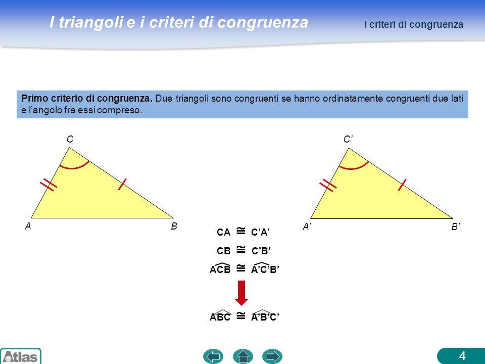 I triangoli e i criteri di congruenza AB C AB C 4 Primo criterio di congruenza. Due triangoli sono congruenti se hanno ordinatamente congruenti due la