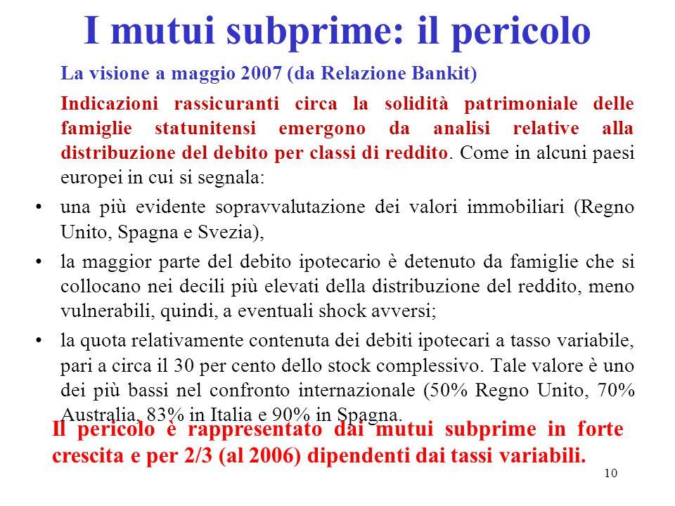 10 I mutui subprime: il pericolo La visione a maggio 2007 (da Relazione Bankit) Indicazioni rassicuranti circa la solidità patrimoniale delle famiglie
