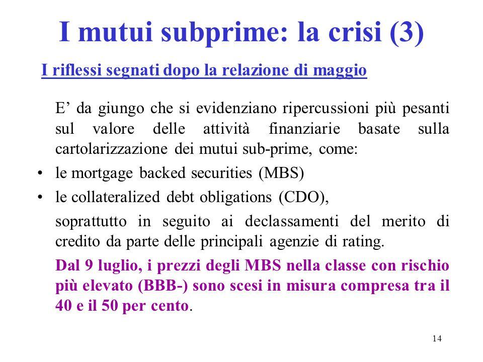 14 E da giungo che si evidenziano ripercussioni più pesanti sul valore delle attività finanziarie basate sulla cartolarizzazione dei mutui sub-prime,