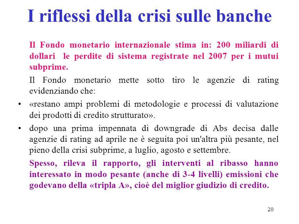 20 I riflessi della crisi sulle banche Il Fondo monetario internazionale stima in: 200 miliardi di dollari le perdite di sistema registrate nel 2007 per i mutui subprime.
