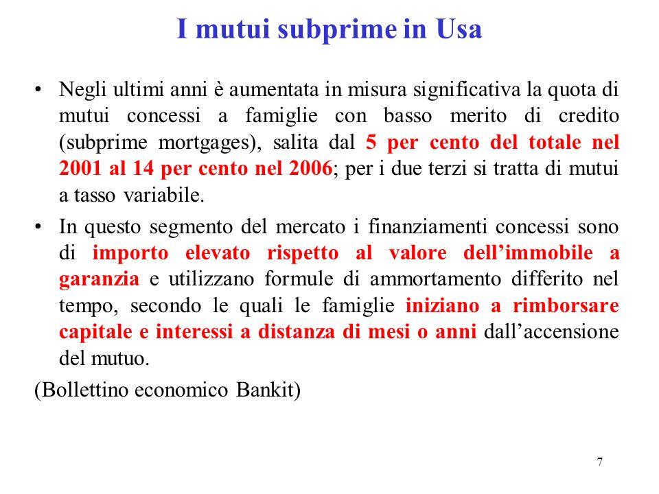 8 Il mercato dei mutui subprime in Usa (da sito Sole 24 ore)
