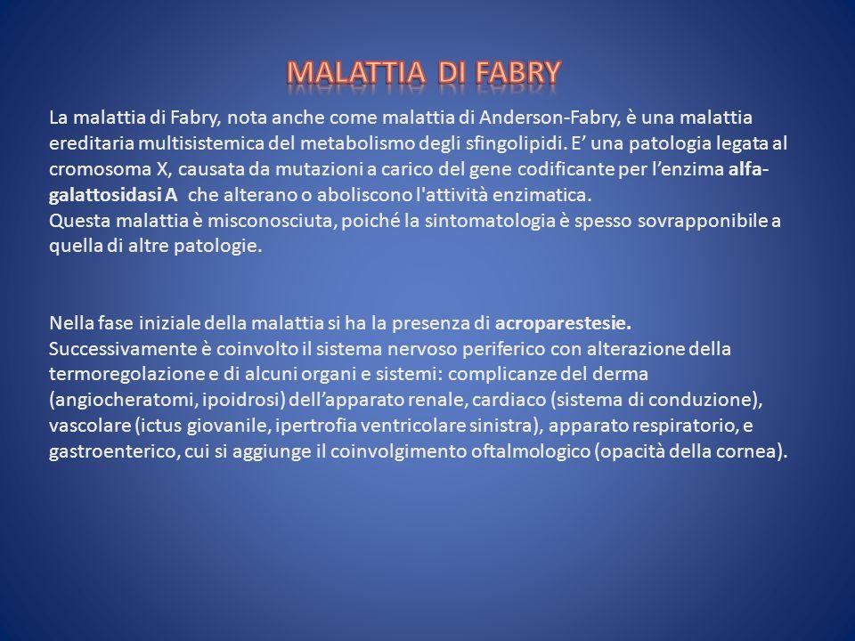 La malattia di Fabry, nota anche come malattia di Anderson-Fabry, è una malattia ereditaria multisistemica del metabolismo degli sfingolipidi. E una p