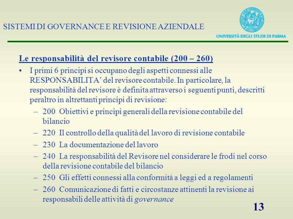 SISTEMI DI GOVERNANCE E REVISIONE AZIENDALE 13 Le responsabilità del revisore contabile (200 – 260) I primi 6 principi si occupano degli aspetti conne