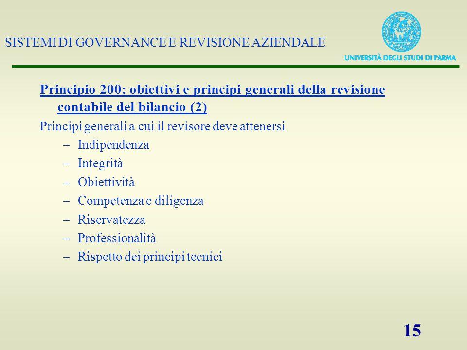 SISTEMI DI GOVERNANCE E REVISIONE AZIENDALE 15 Principio 200: obiettivi e principi generali della revisione contabile del bilancio (2) Principi genera