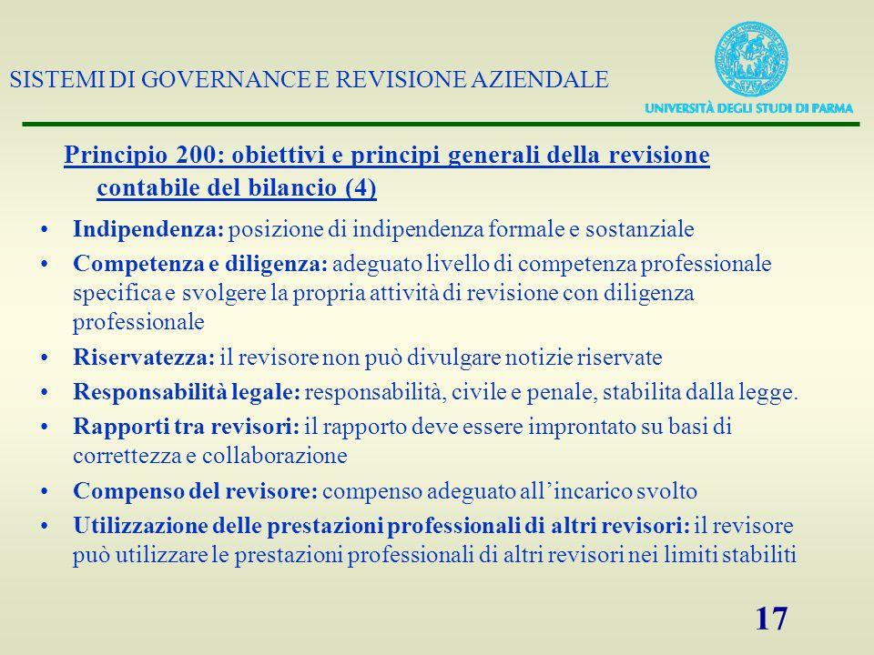 SISTEMI DI GOVERNANCE E REVISIONE AZIENDALE 17 Principio 200: obiettivi e principi generali della revisione contabile del bilancio (4) Indipendenza: p