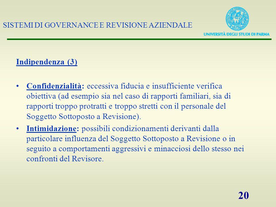 SISTEMI DI GOVERNANCE E REVISIONE AZIENDALE 20 Indipendenza (3) Confidenzialità: eccessiva fiducia e insufficiente verifica obiettiva (ad esempio sia