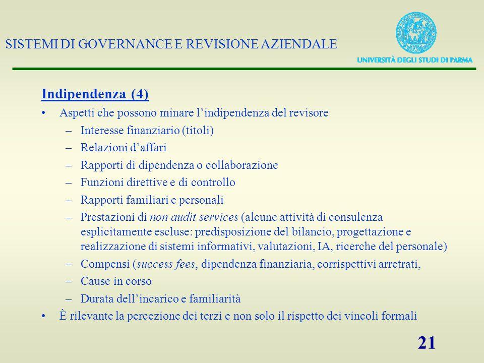 SISTEMI DI GOVERNANCE E REVISIONE AZIENDALE 21 Indipendenza (4) Aspetti che possono minare lindipendenza del revisore –Interesse finanziario (titoli)