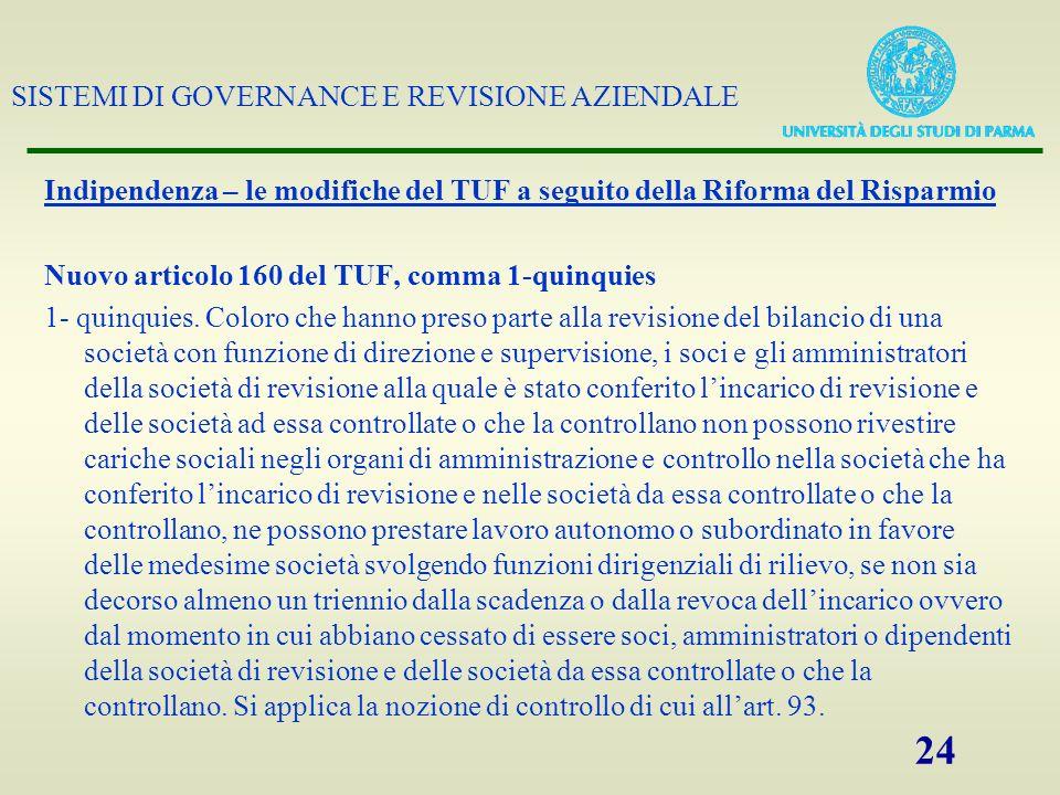 SISTEMI DI GOVERNANCE E REVISIONE AZIENDALE 24 Indipendenza – le modifiche del TUF a seguito della Riforma del Risparmio Nuovo articolo 160 del TUF, c
