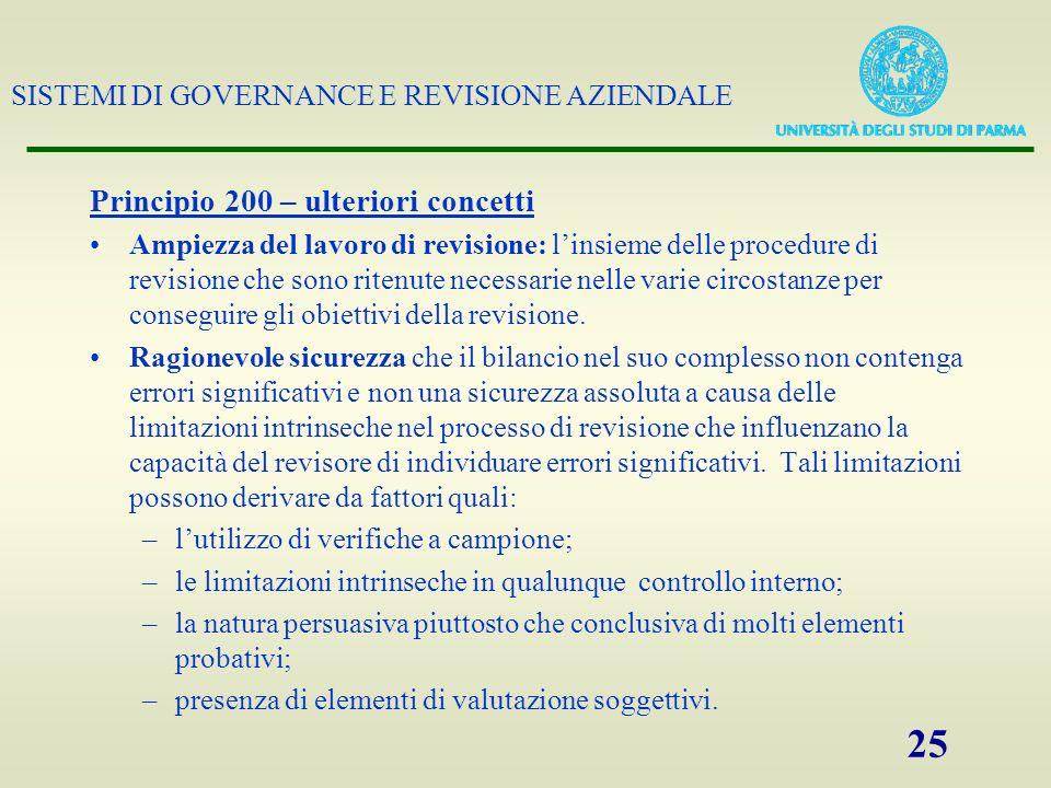 SISTEMI DI GOVERNANCE E REVISIONE AZIENDALE 25 Principio 200 – ulteriori concetti Ampiezza del lavoro di revisione: linsieme delle procedure di revisi