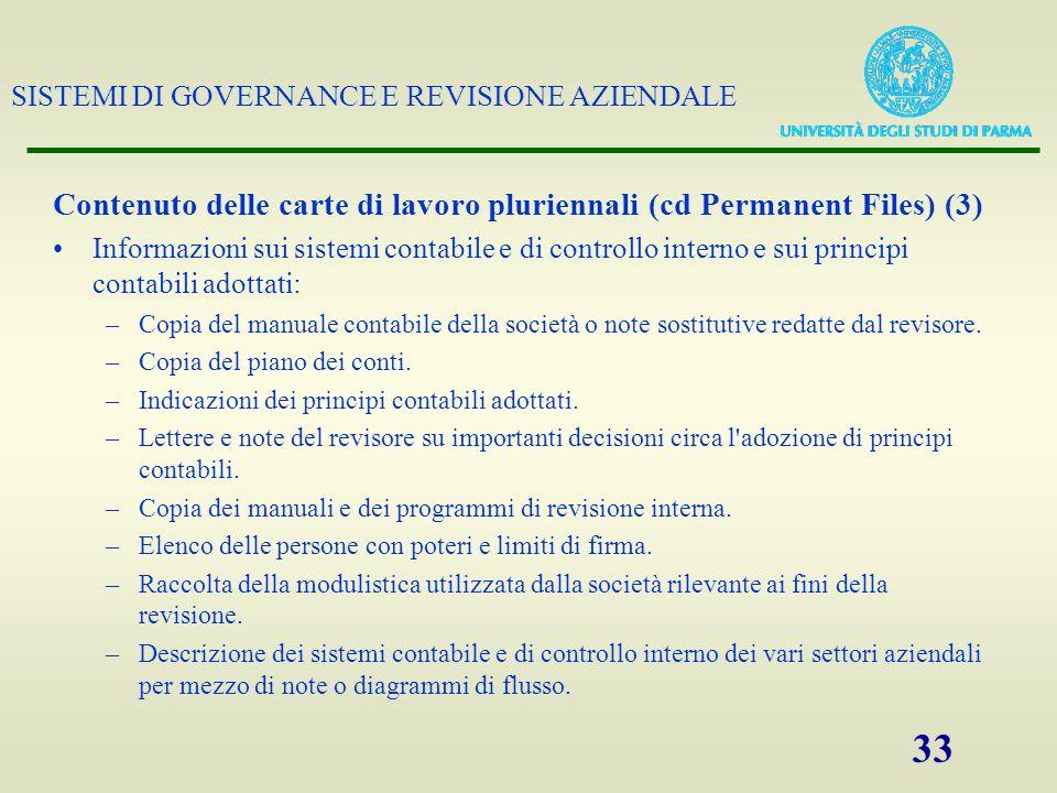SISTEMI DI GOVERNANCE E REVISIONE AZIENDALE 33 Contenuto delle carte di lavoro pluriennali (cd Permanent Files) (3) Informazioni sui sistemi contabile