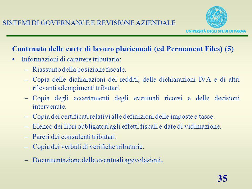 SISTEMI DI GOVERNANCE E REVISIONE AZIENDALE 35 Contenuto delle carte di lavoro pluriennali (cd Permanent Files) (5) Informazioni di carattere tributar