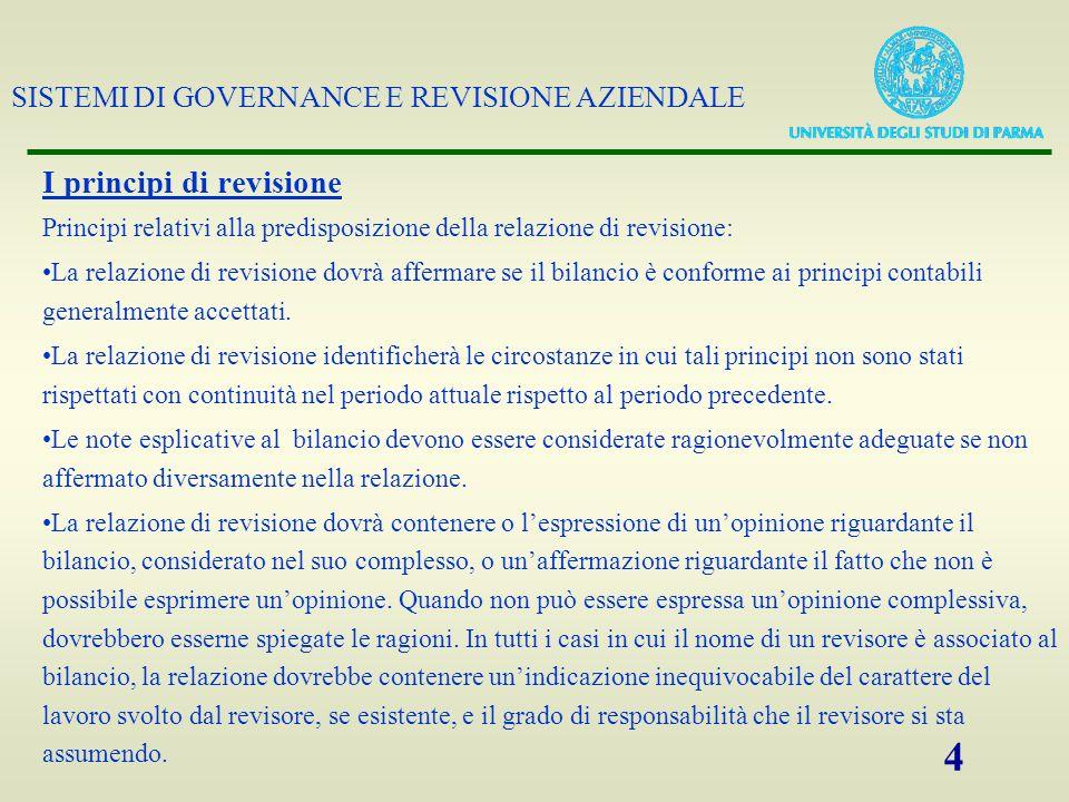 SISTEMI DI GOVERNANCE E REVISIONE AZIENDALE 4 I principi di revisione Principi relativi alla predisposizione della relazione di revisione: La relazion