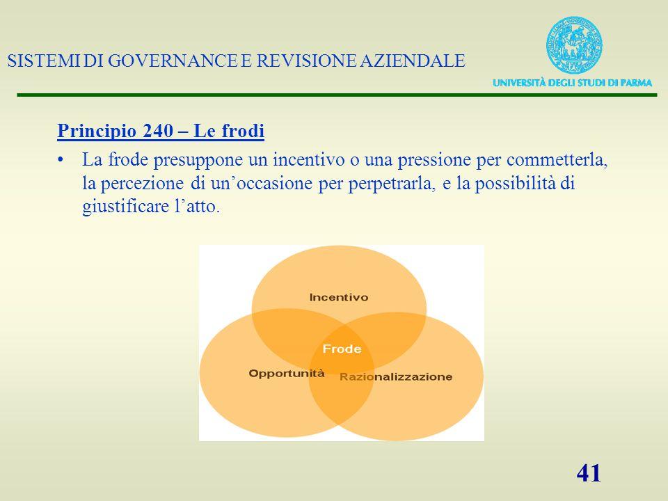 SISTEMI DI GOVERNANCE E REVISIONE AZIENDALE 41 Principio 240 – Le frodi La frode presuppone un incentivo o una pressione per commetterla, la percezion