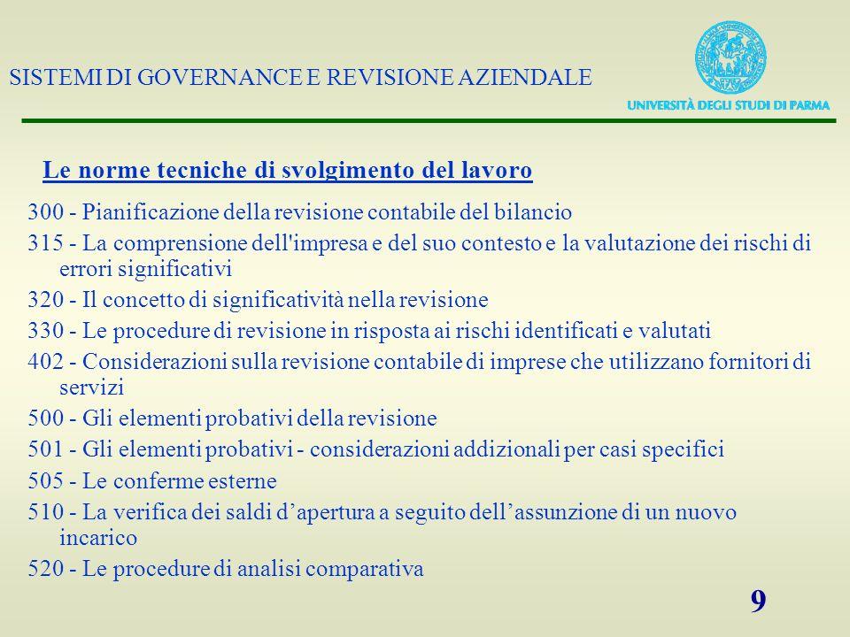 SISTEMI DI GOVERNANCE E REVISIONE AZIENDALE 9 Le norme tecniche di svolgimento del lavoro 300 - Pianificazione della revisione contabile del bilancio