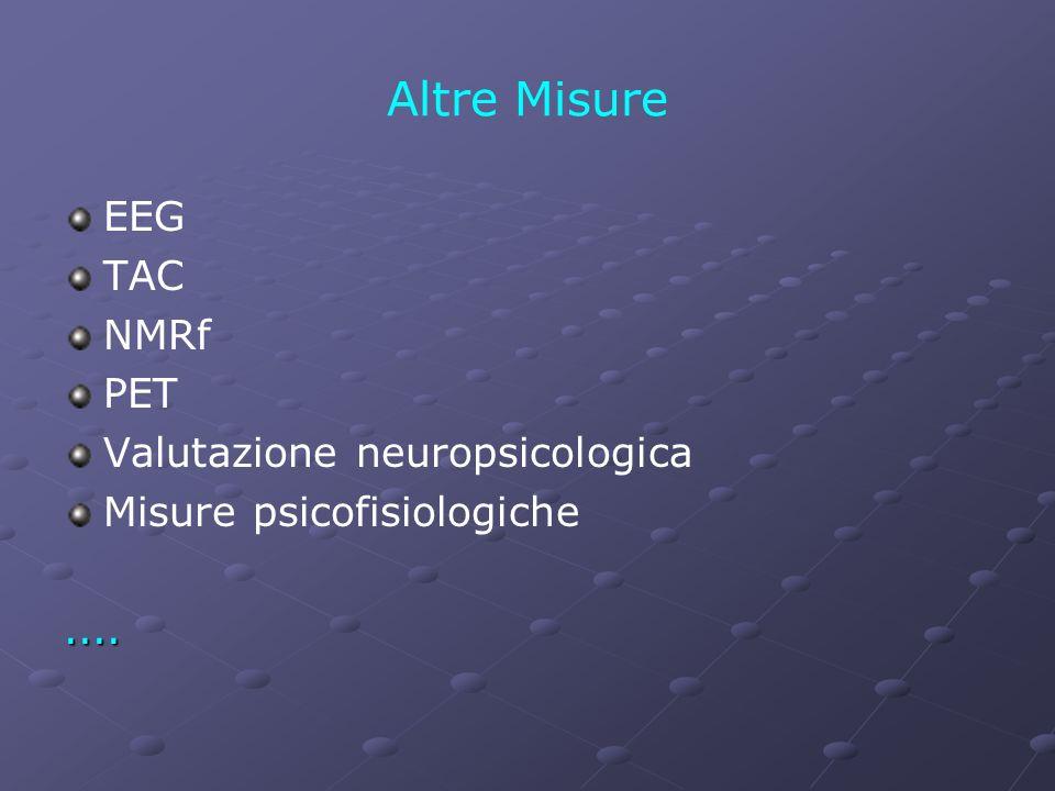 Altre Misure EEG TAC NMRf PET Valutazione neuropsicologica Misure psicofisiologiche....