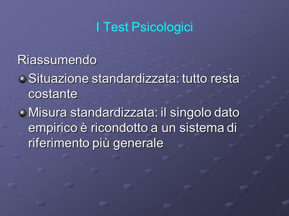 I Test Psicologici Riassumendo Situazione standardizzata: tutto resta costante Misura standardizzata: il singolo dato empirico è ricondotto a un siste