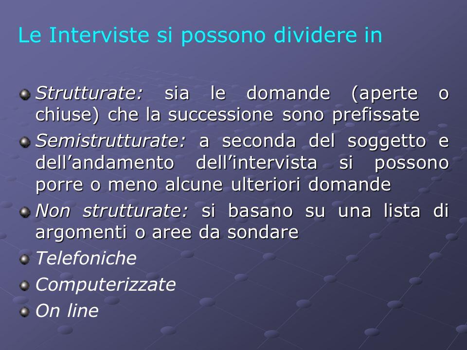 Le Interviste si possono dividere in Strutturate: sia le domande (aperte o chiuse) che la successione sono prefissate Semistrutturate: a seconda del s