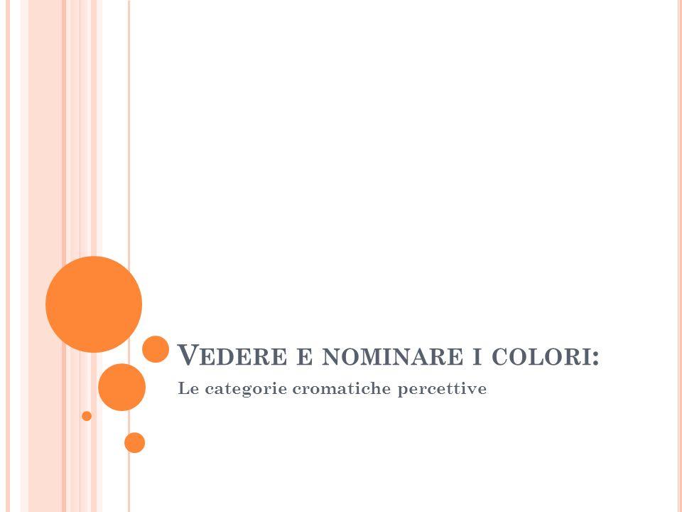 V EDERE E NOMINARE I COLORI : Le categorie cromatiche percettive