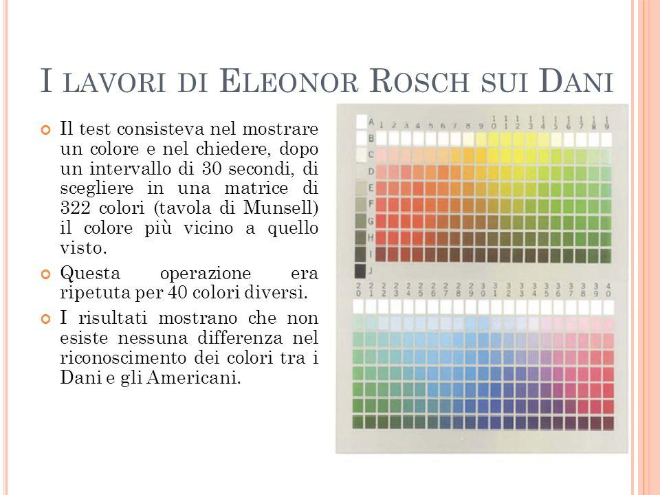 I LAVORI DI E LEONOR R OSCH SUI D ANI Il test consisteva nel mostrare un colore e nel chiedere, dopo un intervallo di 30 secondi, di scegliere in una