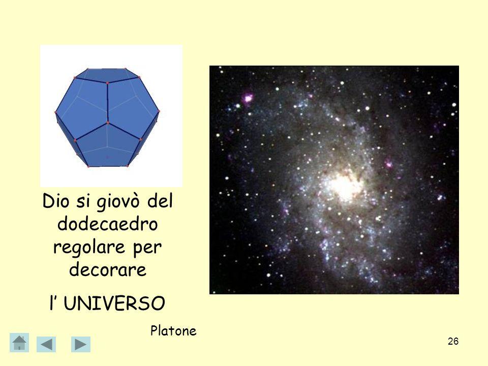 26 Dio si giovò del dodecaedro regolare per decorare l UNIVERSO Platone