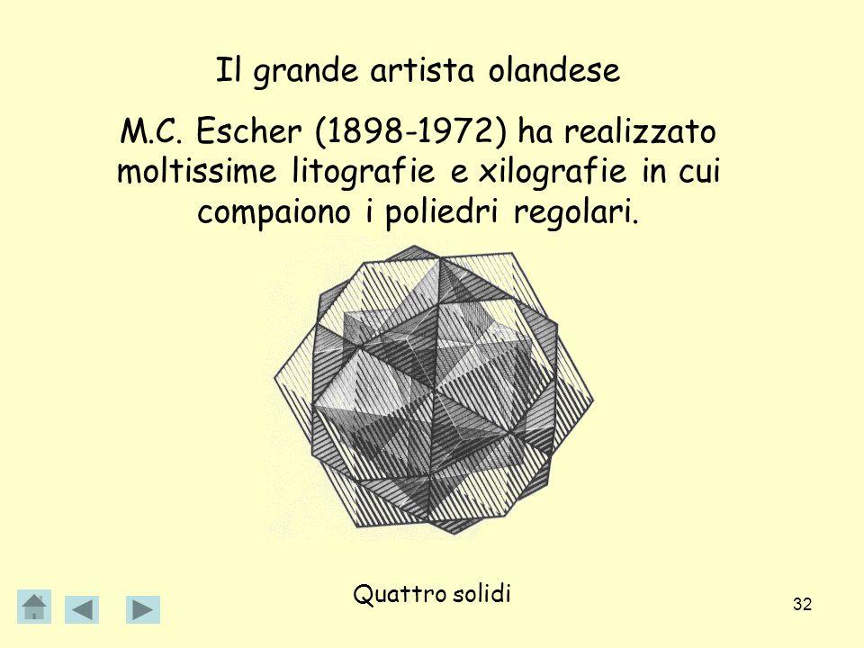 32 Il grande artista olandese M.C. Escher (1898-1972) ha realizzato moltissime litografie e xilografie in cui compaiono i poliedri regolari. Quattro s