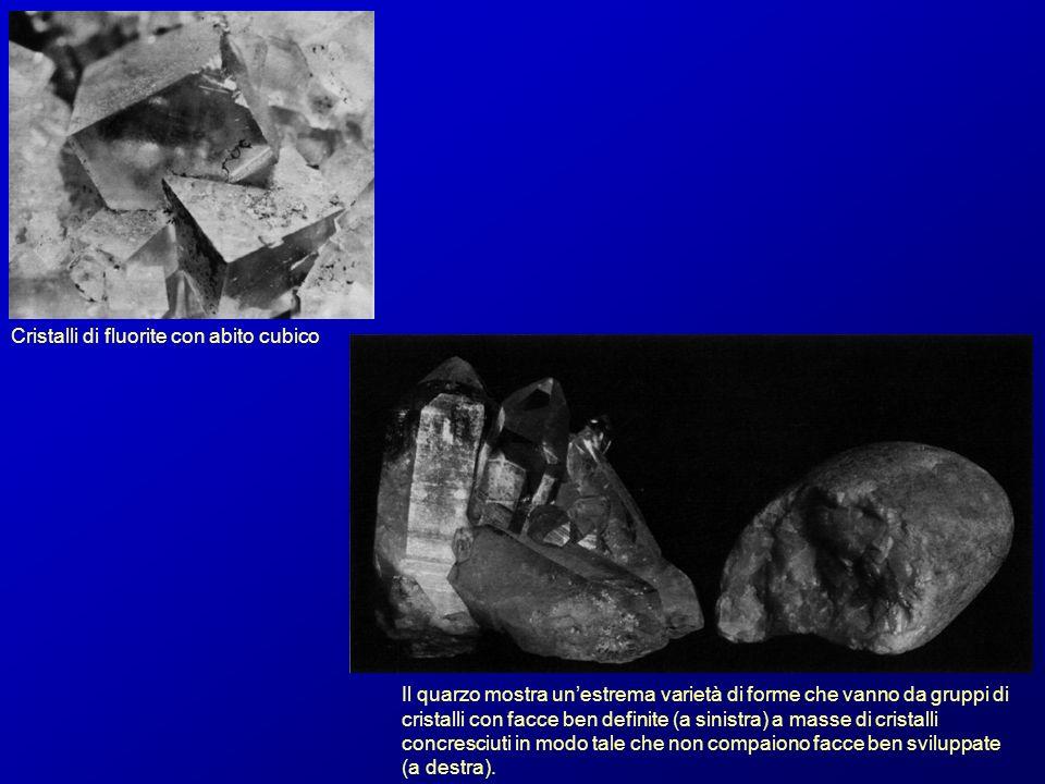 Cristalli di fluorite con abito cubico Il quarzo mostra unestrema varietà di forme che vanno da gruppi di cristalli con facce ben definite (a sinistra