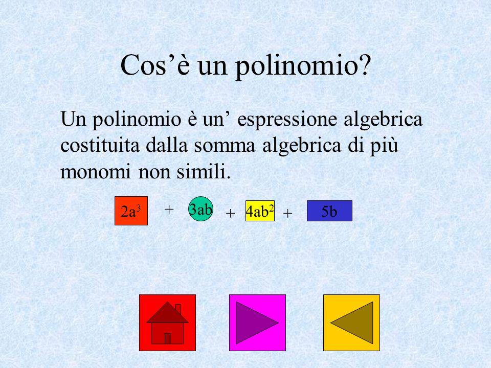 Cosè un polinomio? Un polinomio è un espressione algebrica costituita dalla somma algebrica di più monomi non simili. 2a 3 + 3ab + 4ab 2 + 5b
