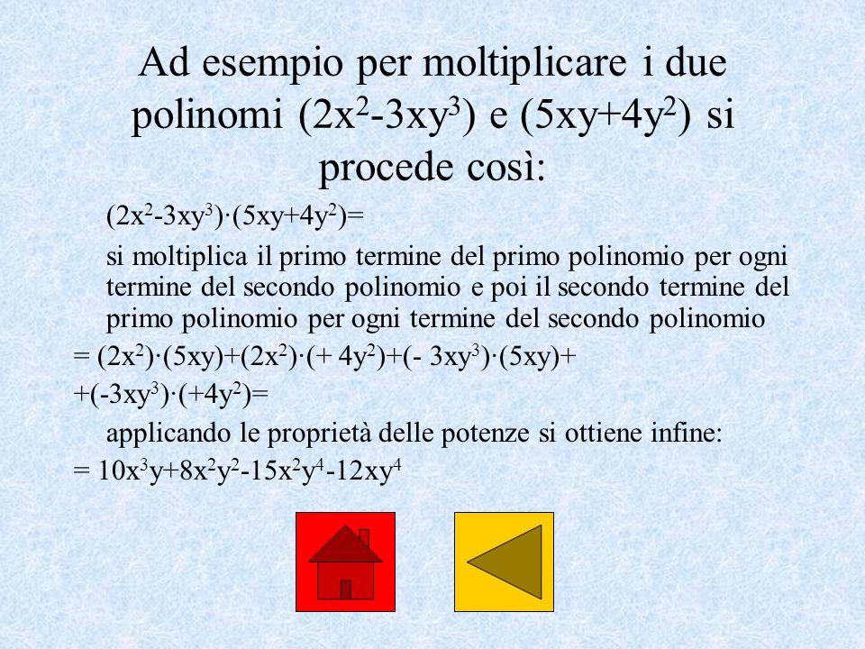 Ad esempio per moltiplicare i due polinomi (2x 2 -3xy 3 ) e (5xy+4y 2 ) si procede così: (2x 2 -3xy 3 )·(5xy+4y 2 )= si moltiplica il primo termine de