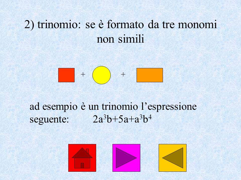 2) trinomio: se è formato da tre monomi non simili ad esempio è un trinomio lespressione seguente:2a 3 b+5a+a 3 b 4 ++