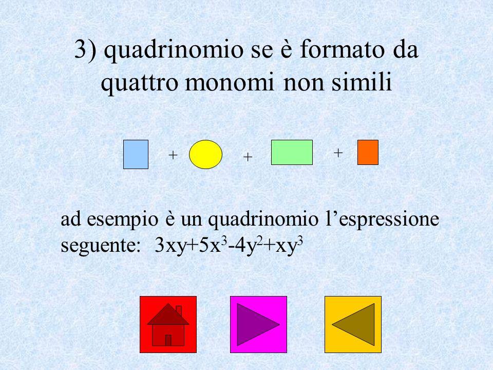 3) quadrinomio se è formato da quattro monomi non simili ad esempio è un quadrinomio lespressione seguente: 3xy+5x 3 -4y 2 +xy 3 + + +