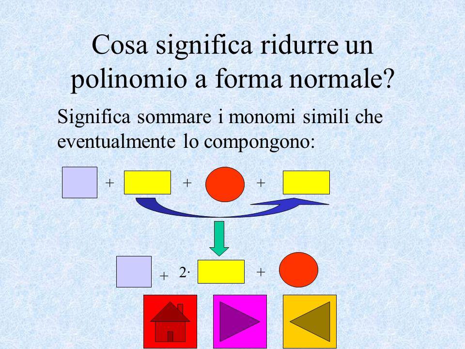 Cosa significa ridurre un polinomio a forma normale? Significa sommare i monomi simili che eventualmente lo compongono: +++ + 2·2·+