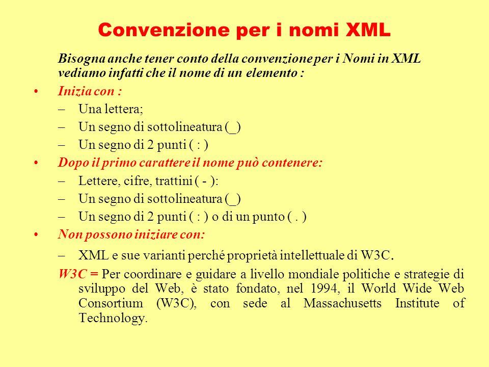 Convenzione per i nomi XML Bisogna anche tener conto della convenzione per i Nomi in XML vediamo infatti che il nome di un elemento : Inizia con : –Un
