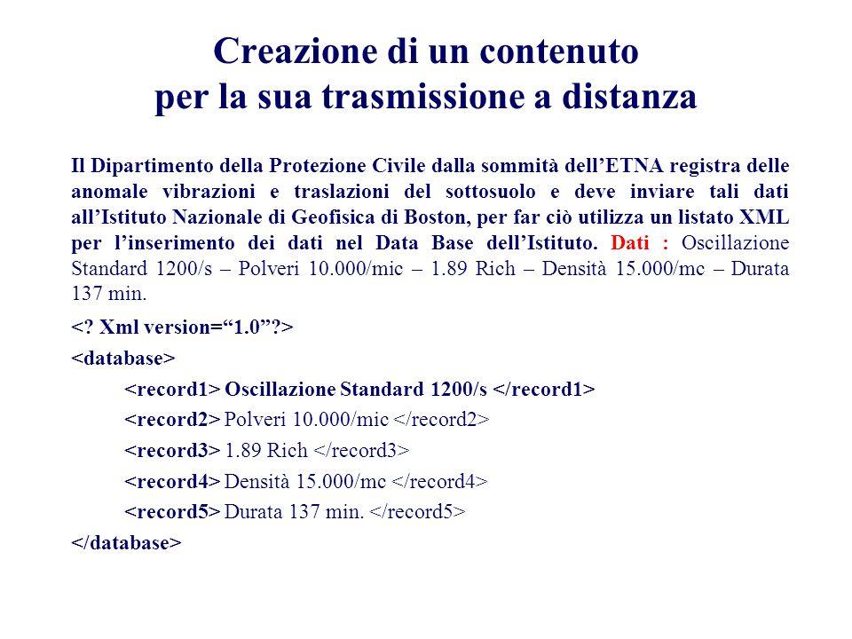 Creazione di un contenuto per la sua trasmissione a distanza Il Dipartimento della Protezione Civile dalla sommità dellETNA registra delle anomale vib