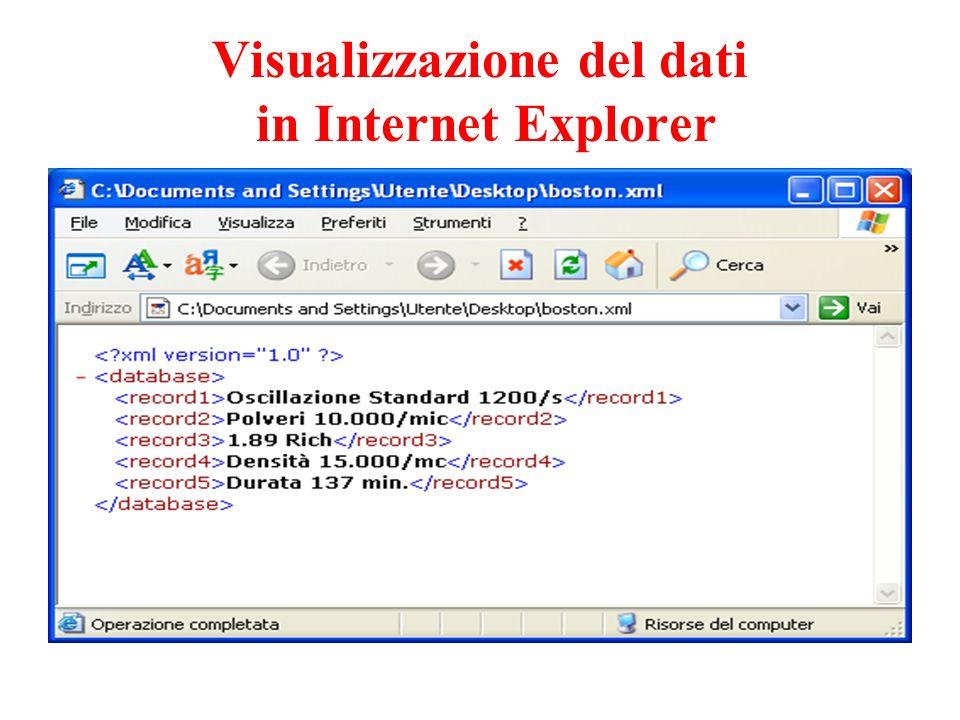 Visualizzazione del dati in Internet Explorer