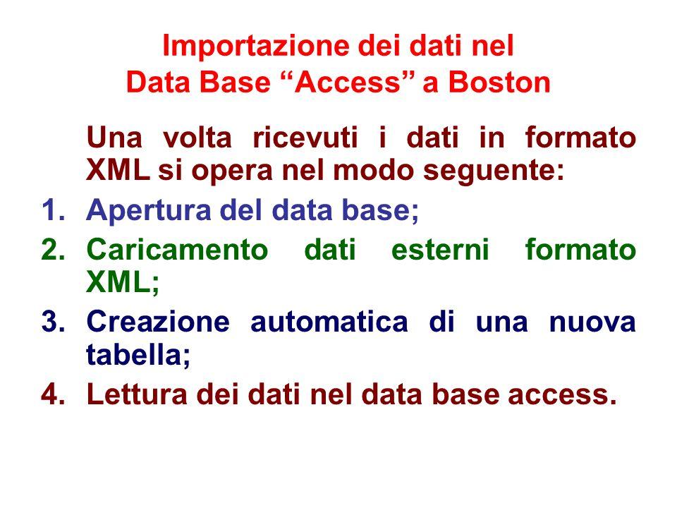 Importazione dei dati nel Data Base Access a Boston Una volta ricevuti i dati in formato XML si opera nel modo seguente: 1.Apertura del data base; 2.C
