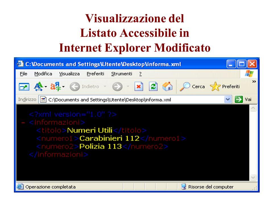 Visualizzazione del Listato Accessibile in Internet Explorer Modificato
