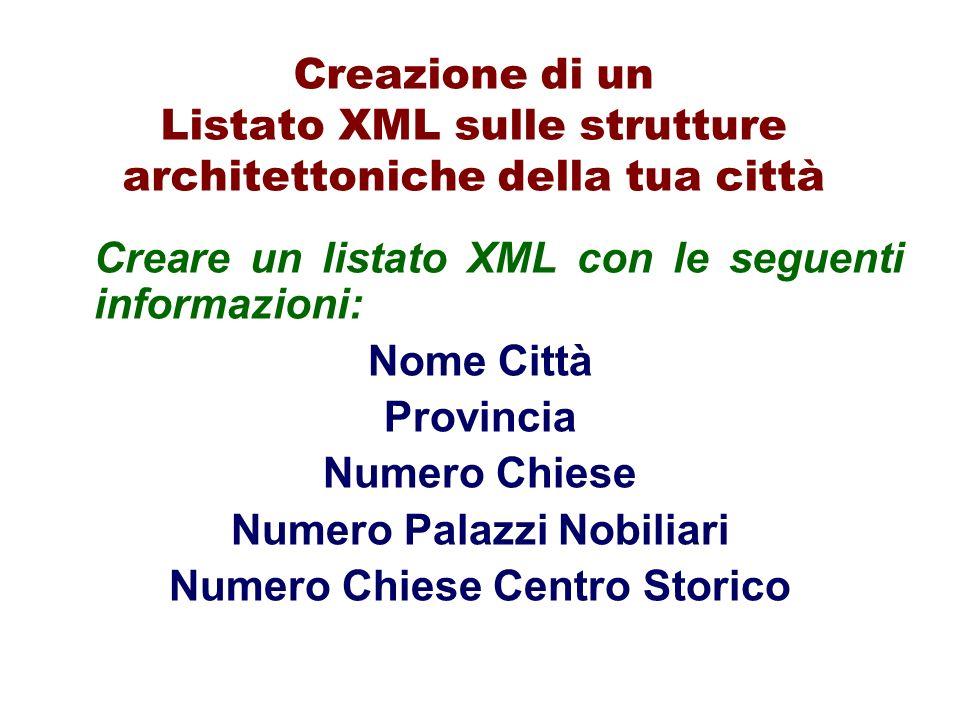 Creazione di un Listato XML sulle strutture architettoniche della tua città Creare un listato XML con le seguenti informazioni: Nome Città Provincia N