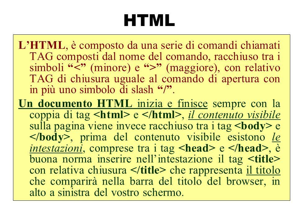 HTML LHTML, è composto da una serie di comandi chiamati TAG composti dal nome del comando, racchiuso tra i simboli (maggiore), con relativo TAG di chi